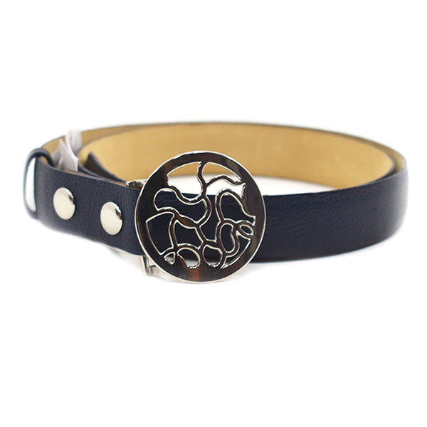 Sandy Navy Leather Belt - Chica It Boutique