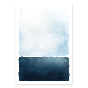 Abstract Blue Landscape A4 Art Print