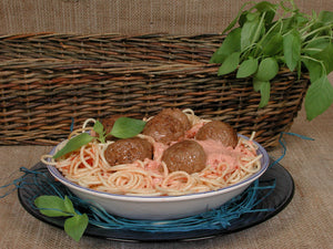 A Spicy Meatball Spaghetti with Rose Sauce