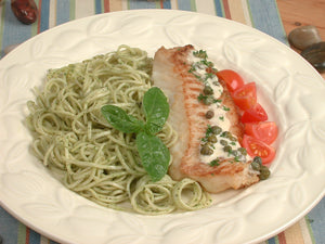 Fillet of Haddock with Capers Pasta and Pesto