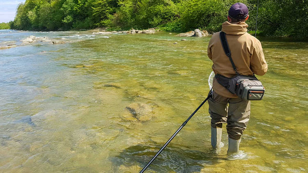 Fly Fisherman with Hip Boot Waders