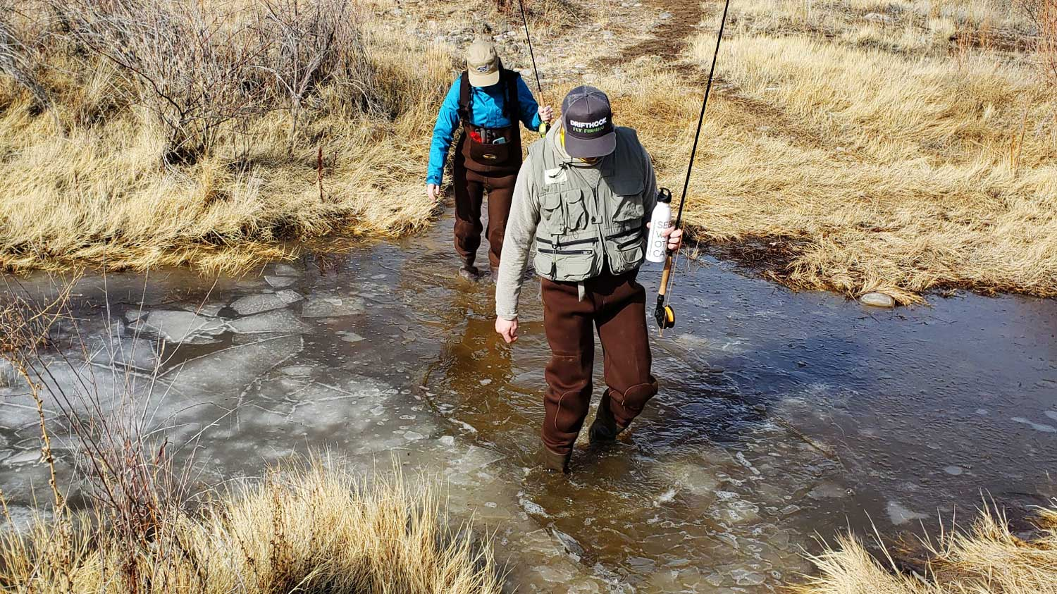 Two People Fly Fishing