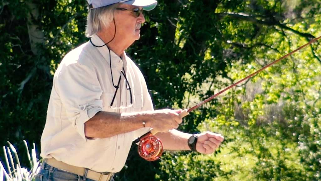 Hand on top fly fishing