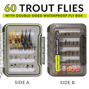 Drifthook | Nymph Frenzy Fly Fishing Kit, 60 Flies, Double Sided Fly Box with Video Guide | Fishing - Drifthook