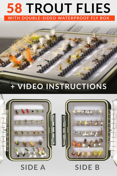 Drifthook | Emerger Swing Fly Fishing Kit, 58 Flies, Double Sided Fly Box with Guide | Fishing - Drifthook