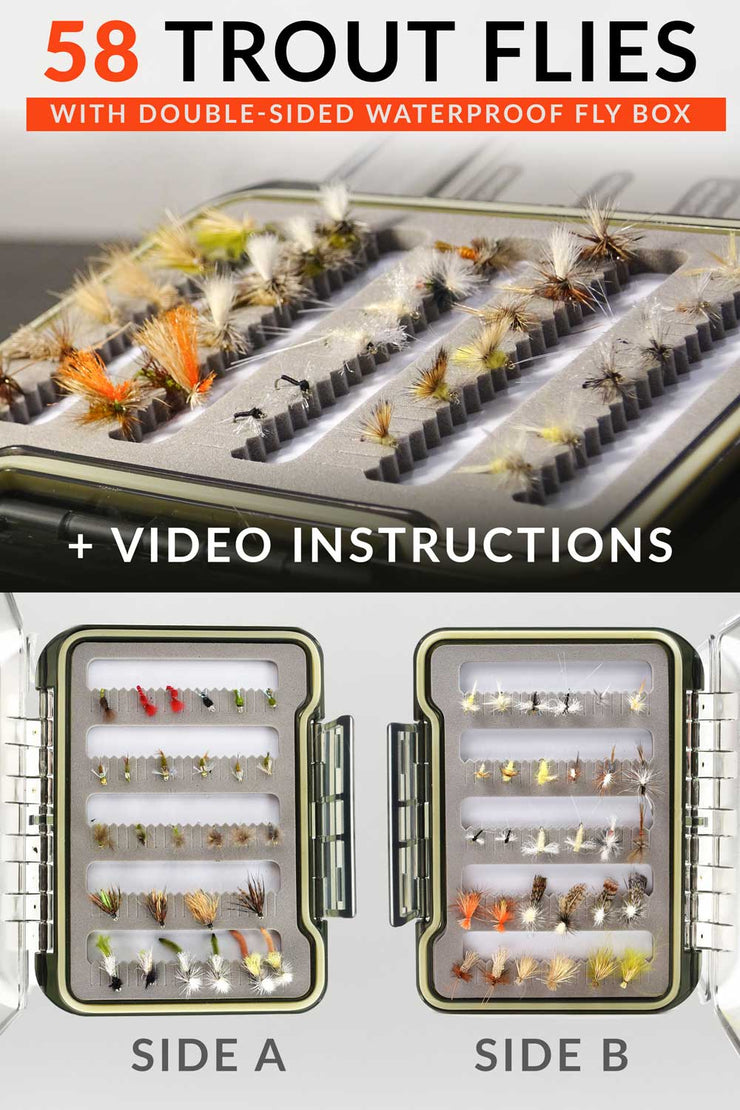 Emerger Swing Fly Fishing Kit | 58 Fly Fishing Flies with Box & Guides - Drifthook