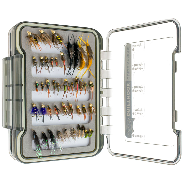 Drifthook | Guide Nymphs Fly Fishing Kit, 120 Nymph Flies, Double Sided Fly Box with Guide | Fishing - Drifthook