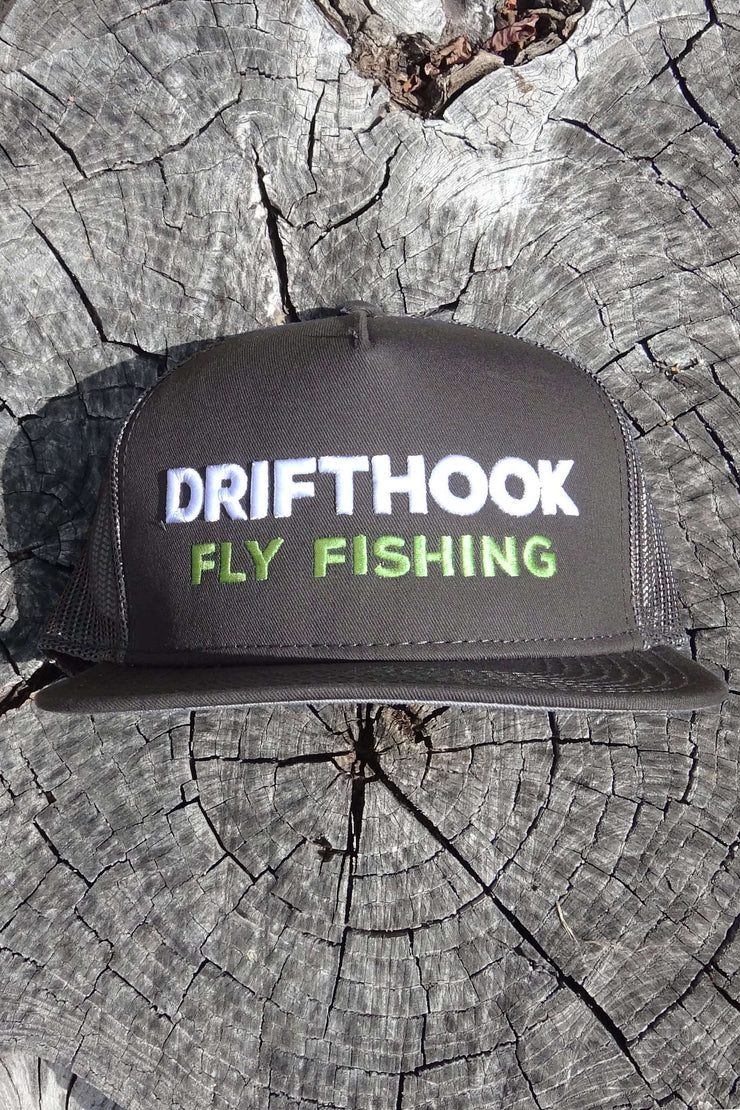 Drifthook Snapback Flat Bill Hat—Gray with Puff Logo