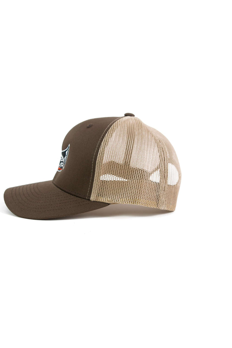 Drifthook Trucker Cap—Brown with Red Logo - Drifthook