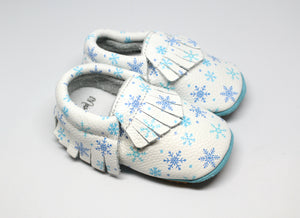 Snowflake Rubber Bottom Leather Moccasins | Baby Shoes