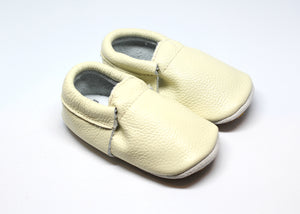 Sand Fringeless Rubber Bottom Leather Moccasins | Baby Shoes