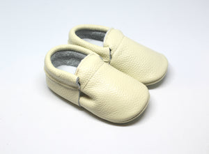 Sand Fringeless Leather Moccasins | Baby Shoes