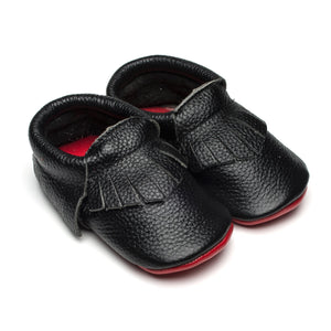 Black Loubies Leather Moccasins | Baby Shoes