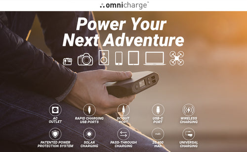 Omni Charge 20+ Power Bank Bundle with AC Power Supply and Carrying Case - HD Source