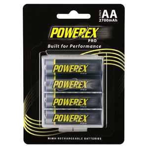 Powerex Pro Rechargeable AA NiMH Batteries (1.2V, 2700mAh) - 4 pack - HD Source