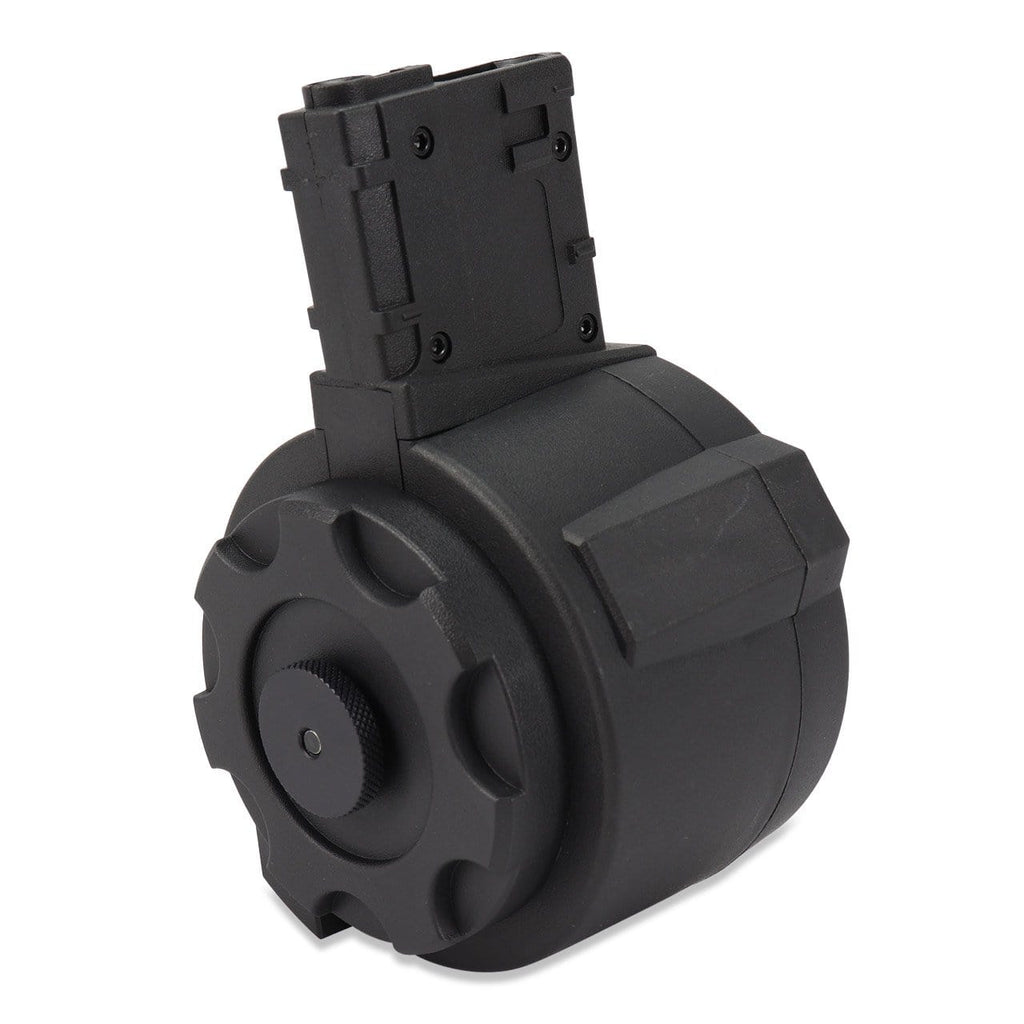 Angel Custom 1500 Round Firestorm Airsoft Drum Flashmag (Color: Black / M4 Adapter) - Eminent Paintball And Airsoft