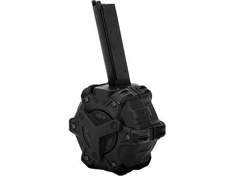 AW Custom Drum Magazine for Gas Blowback Airsoft Pistols & Rifles (Type: WE 1911 / Black) - Eminent Paintball And Airsoft