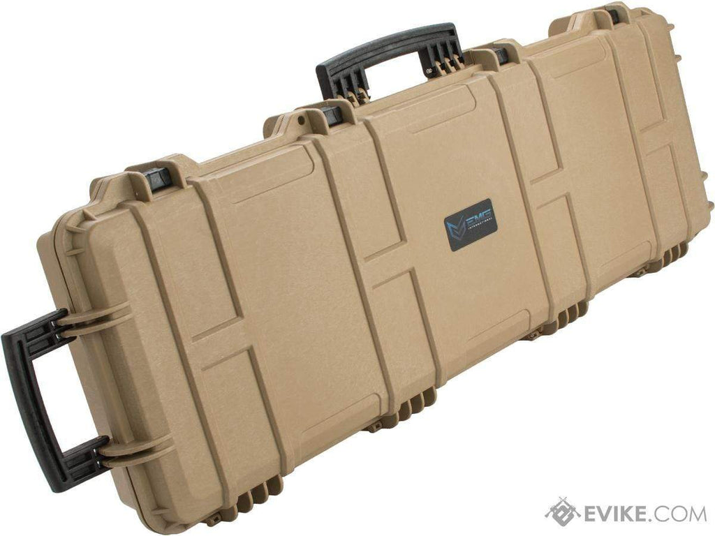"EMG Transporter Lockable 42"" Hard Case w/ low-profile wheels & PnP foam (Color: Desert Tan) - Eminent Paintball And Airsoft"