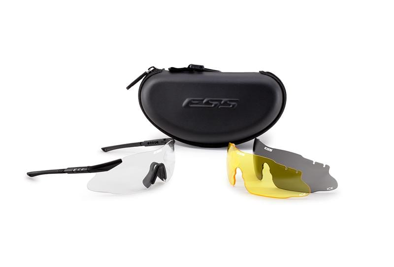ESS ICS 3LS Ballistic Eyeshield Kit - Black w/ Smoke & Yellow Lens - Eminent Paintball And Airsoft