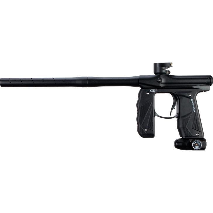 EMPIRE MINI GS PAINTBALL GUN W/ TWO PIECE BARREL- DUST BLACK - Eminent Paintball And Airsoft