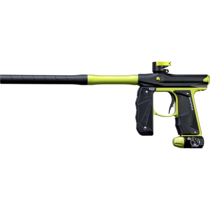 EMPIRE MINI GS PAINTBALL GUN W/ TWO PIECE BARREL- DUST BLACK/NEON GREEN - Eminent Paintball And Airsoft