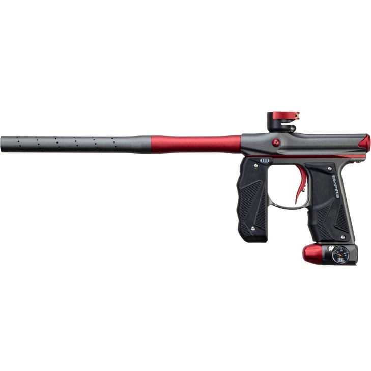 EMPIRE MINI GS PAINTBALL GUN W/ TWO PIECE BARREL- DUST GREY/DARK RED - Eminent Paintball And Airsoft