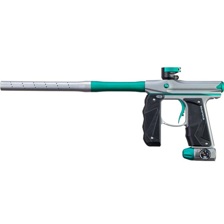 EMPIRE MINI GS PAINTBALL GUN W/ TWO PIECE BARREL- DUST GREY/TEAL - Eminent Paintball And Airsoft