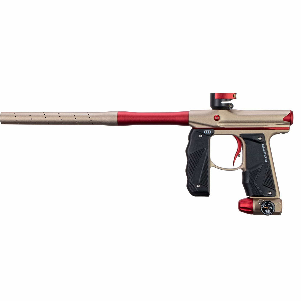 EMPIRE MINI GS PAINTBALL GUN W/ TWO PIECE BARREL- DUST TAN/RED - Eminent Paintball And Airsoft