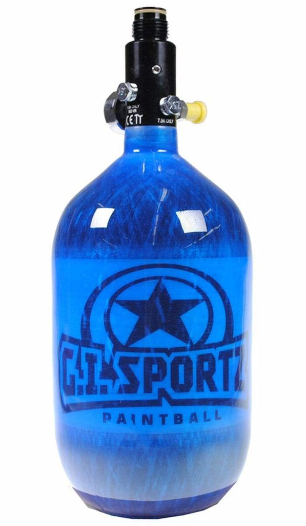 GI SPORTZ MEGA LITE 68/4500 COMPRESSED AIR PAINTBALL TANK - BLUE - Eminent Paintball And Airsoft