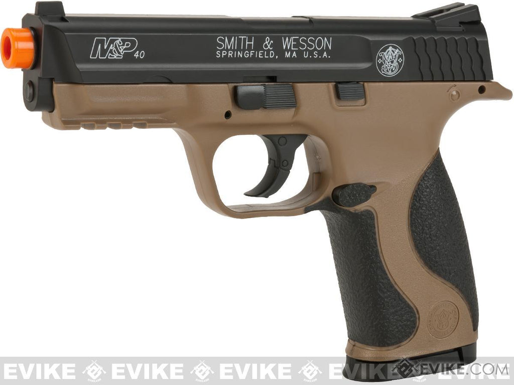 Smith and Wesson M&P40 CO2 Powered Non-Blowback Airsoft Pistol (Color: Tan / Black) - Eminent Paintball And Airsoft