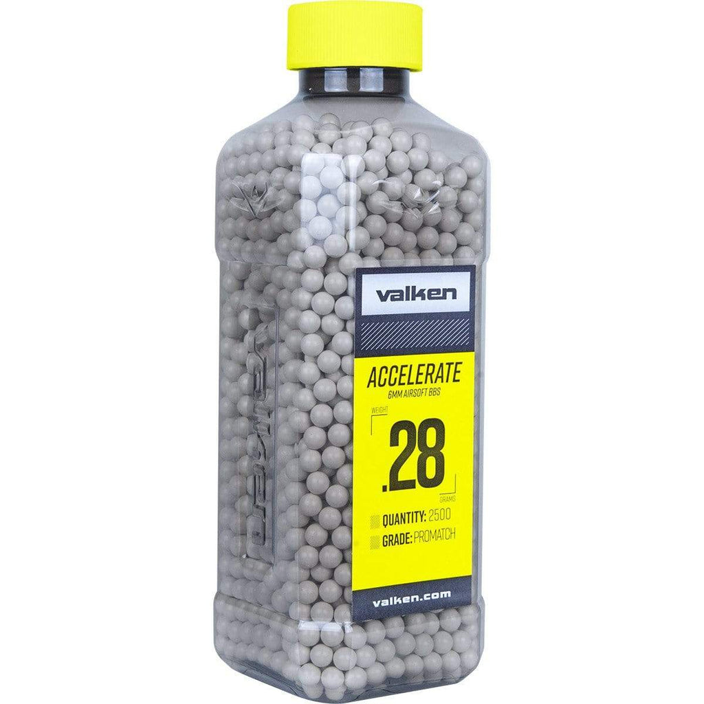 Valken Accelerate Airsoft BBs - 0.28G-2500CT-White - Eminent Paintball And Airsoft