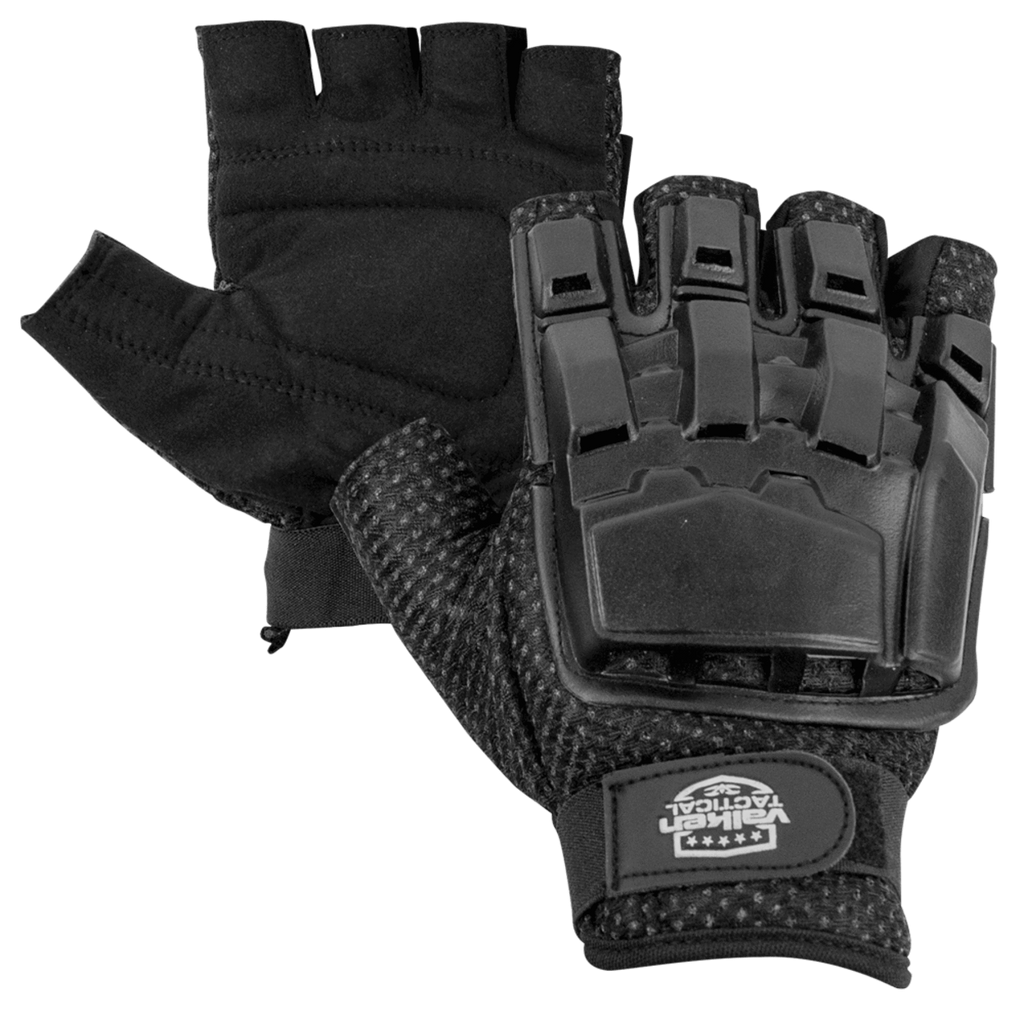 Valken Half Finger Plastic Back Gloves - Black - Eminent Paintball And Airsoft