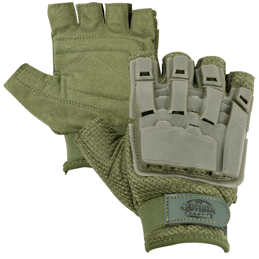 Valken Half Finger Plastic Back Gloves - Olive - Eminent Paintball And Airsoft