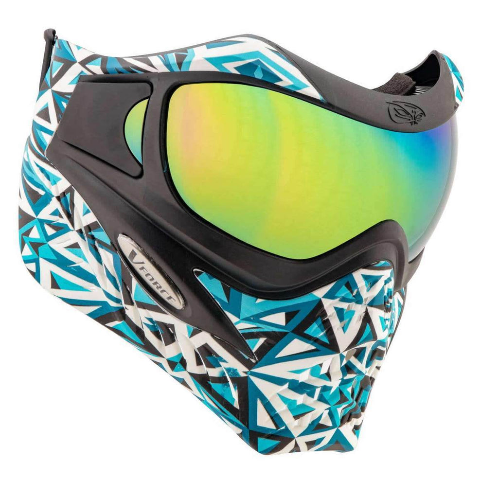 VForce Grill SE Angler Aqua w/ Phantom Lens (Blk/Teal/White) - Eminent Paintball And Airsoft