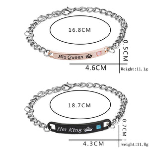 2019 Bracelets Set His Queen Her King His Beauty Her Beast Her Prince His Princess Crown Couple pair Bangle Fashion Jewelry Gift