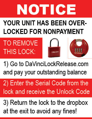 Sign Overlock - DaVinci Lock Release - Red Locks (10 Pack of Signs)
