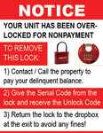 Sign Overlock - No Customer Portal - Red Lock (10 Pack of Signs)