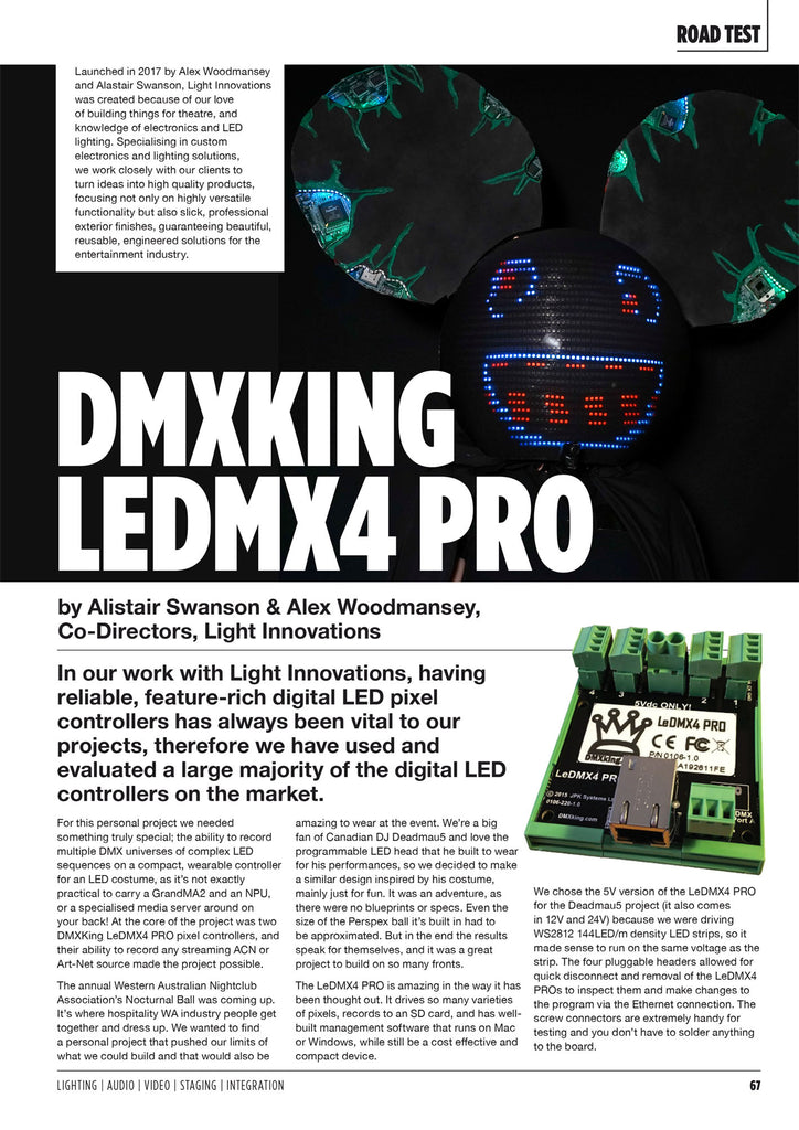 DMXking LeDMX4 Pro Review in CX Magazine p1