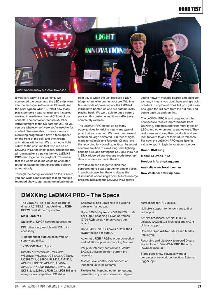 DMXking LeDMX4 Pro Review in CX Magazine p2