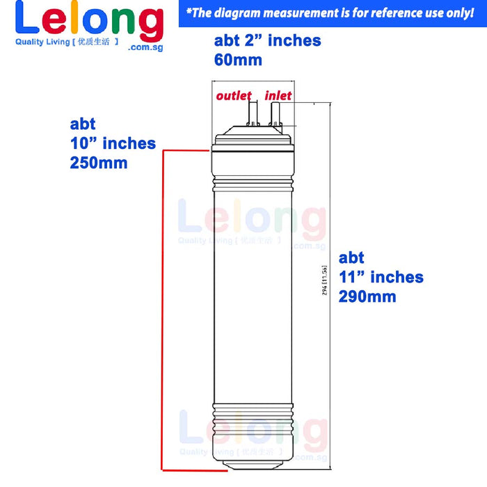 "29cm/ 11"" KOREA HYDROGEN-RICH WATER FILTER CARTRIDGES - U TYPE - INLINE - REPLACEMENT CARTRIDGES WATER FILTRATION SYSTEM"