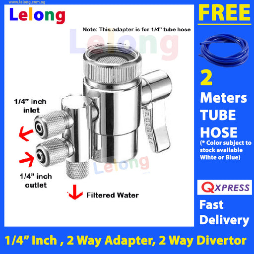 2 Ways Faucet Adapter, 1/4 inches input output, 2 Ways Faucet Diverter for water filters system