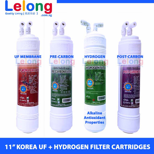 "11"" Korea ULTRA FILTRATION + HYDROGEN-RICH Water Filtration Replacement Cartridges, UF Membrane, Pre-Carbon, Hydrogen Filter, Post-Carbon Filter"