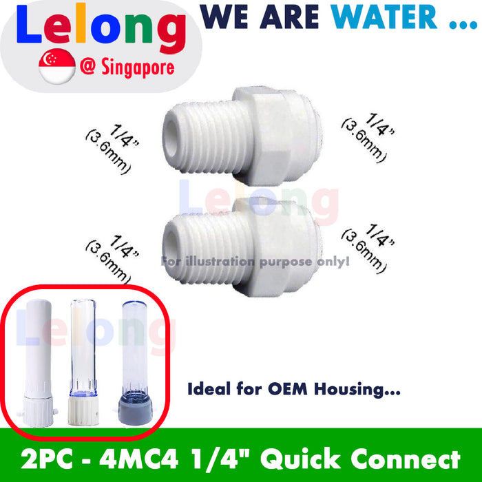 "FITTING:  2PCS - 4MC4 connector, 1/4"" Quick Connect Push Fit in Male Connector Fitting"