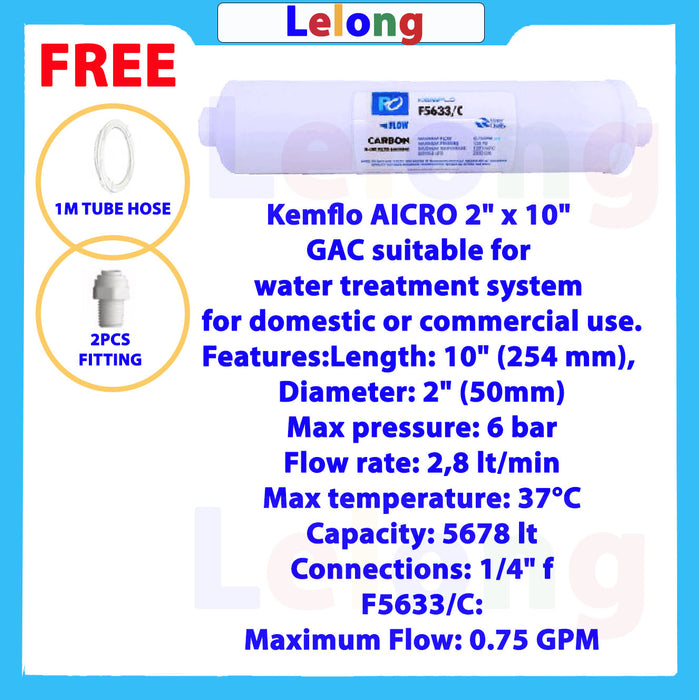 Kemflo 5633/C Carbon INLINE Filter Cartridge,