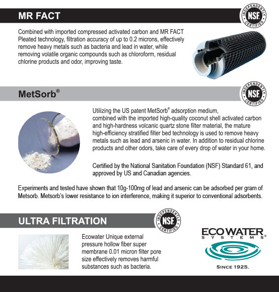Ecowater 830VC advanced 0.01 micron Ultra Filtration System dual filtration Water Purifier Antibacterials Heavy Metals Removal, VOC removal, odor taste removal