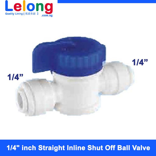 "1/4"" inch Straight Inline Shut Off Ball Valve Hand Valve for tubing OD 1/4""x 1/4"""