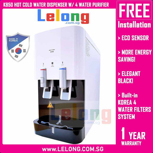 Korea K850 Hot & Cold Filtered Water Dispenser, Energy Saving, Eco Sensor, Alkaline Pi Energy System *White
