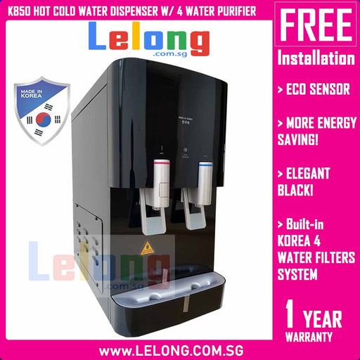 Korea K850 Hot & Cold Filtered Water Dispenser, Energy Saving, Eco Sensor, Alkaline Pi Energy System *Black
