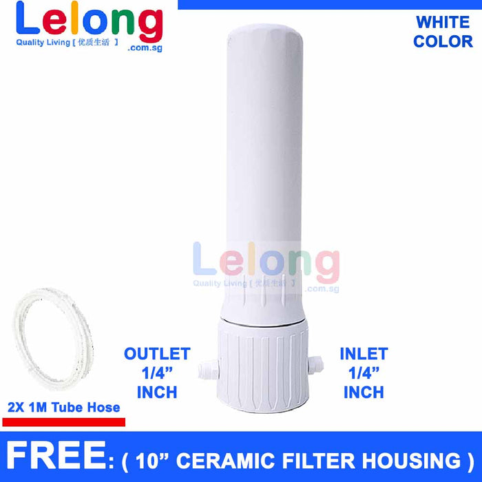(D.I.Y) C3000T WHITE HOUSING FOR BSP THREAD MOUNT CERAMIC WATER FILTER CANDLE ,  WATER TREATMENT CARTRIDGE
