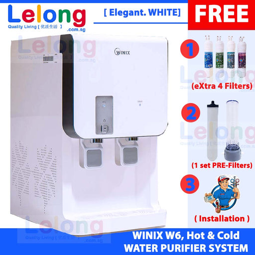 Winix W6TD Filtered Water Dispenser Hot & Cold, Korea 4 Filters Water Purification System